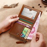RFID BlockingGenuine Leather Men Bifold Wallet Coin Purse Card Holder Money Clip