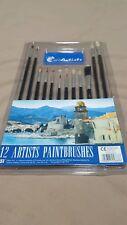 12 PEZZI artista pennello Set Piatto & Punta diverse dimensioni e lunghezza