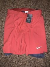 "Brand New Nike Court Flex  Men's 7"" 2 in 1 Tennis Shorts L-Tall Dune Red Gray #6"