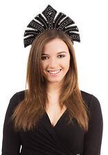 Black Gem Feather Carnival Headdress Mardi Gras Fancy Dress Costume Accessory
