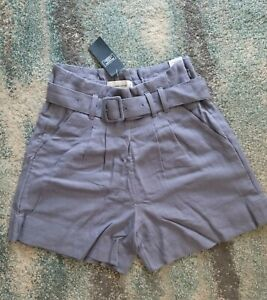 ABERCROMBIE & FITCH Purple Linen Blend Ultra High Rise Shorts Size XS NWT