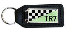 Triumph TR7 Chequered White Logo Rectangle Black Leather Keyring