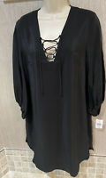 Amanda Uprichard Silk Black Long Sleeve lace up Front Dress Size M $264 NWT