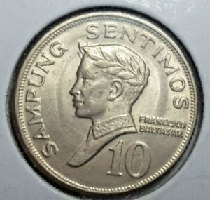 1970 TEN 10 SENTIMO PHILIPPINE COIN KM#198 ABOUT UNCIRCULATED