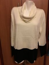 Calvin Klein White Black Women Sweater Tunic Top L Large  NWT New Cowl Neck
