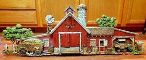 "Vtg. Burwood Products #587 Farm Barn Chickens Hay Scene 1974 Wall Hanging 46"""