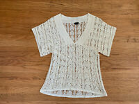 New THEORY Women sz L off-white crochet short Sleeve V-neck Blouse Top