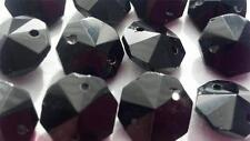 50 Black 14mm Octagons Chandelier Crystal Faceted Prisms Parts Octagon Beads