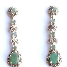 GORGEOUS! NATURAL TOP RICH GREEN EMERALD And MARKASITE SILVER STERLING EARRINGS.