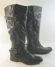 """new Black 1""""Low Heel Round Toe Sexy Knee Boot Side Buckle Size 8.5"""