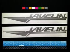 """2 (TWO)   JAVELIN  Boats Marine HQ Decals 12"""" - Silver Metallic + more"""