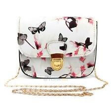 Women PU Leather Lady Floral Chain Shoulder Bag Handbag Satchel Tote Cross Body