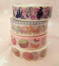 ❤ Lot of 4 Kawaii Washi Tapes Macaron Alice in Wonderland Carousel Japan New ❤