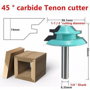 45 Degree 1/4'' Shank 1-1/2'' Lock Miter Router Bit Woodwork Tenon Cutter Tools