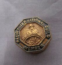 RADIO INTERNATIONAL GUILD MEMBER VINTAGE  STUD BUTTON 1/2""