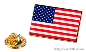 AMERICAN FLAG ENAMEL LAPEL PIN GOLD BORDER USA US United States TIE TACK BADGE