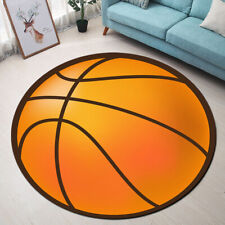 Sports Theme Basketball Pattern Area Rugs Bedroom Living Room Round Floor Mat