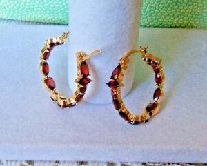 """GARNET 1"""" HOOP EARRINGS 14KT GOLD OVER SS925 NWOT NATURAL GARNET BEAUTIFUL!"""