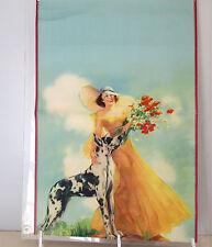 """VintAGE 30""""  Art Deco Pin-Up LITHO  BRUNET WITH SETTER DOG CALENDAR PRINT??"""