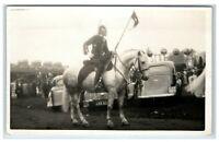 Vintage Postcard Man riding horse ceremonial flag bearer