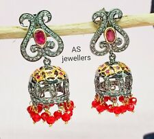 925 Sterling Silver Ruby and Diamond Jhumka Earrings Silver Indian Jewelry