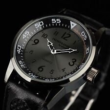 Infantry Infiltrator Mens Quartz Wrist Watch Analog Military Sport Black Leather