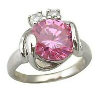 Sterling Silver Ring Pink Solitaire Swirl Size 6.5 Brand New