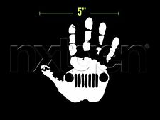 (2x) Jeep Hand Wave Wrangler Sticker Vinyl Decal White