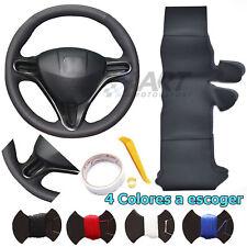 Funda de volante a medida para Honda Civic 8 en cuero negro liso + perforado