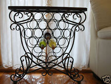 Handmade Iron Elegant French Wine Rack Storage Console