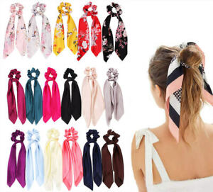 UK Satin Ponytail Scarf Bow Hair Rope Ties Scrunchies Ribbon Band Flower Leopard