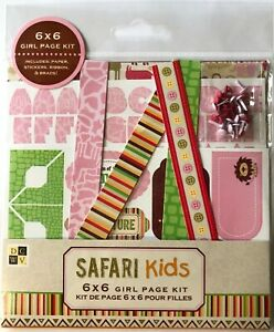 "SAFARI KIDS GIRL Page Kit(6""x6"")Animal •Alphabet•Brads•Stickers•Ribbon •Tags•Zoo"