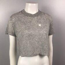 1980s Crop Shirt Top / Gray Cotton Half Shirt Short Sleeves Tee / Large