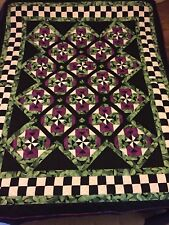 """Handmade Purple Green Black Spinners Hand Quilted Quilt 62""""x75"""""""