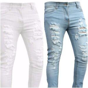 Men Ripped Skinny Slim fit White Grey Black Blue Stretch Denim  Biker boys Jeans