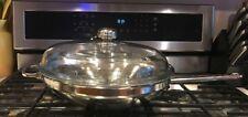 Demeyere 18/10 Stainless Cookware Belgium Flat Bottom Wok 5.8qt Insert + Lid