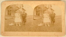 CHILDREN BOY GIRL DRESS UP HATS HOUSE PHOTO STEREOVIEW 1800'S LG SIZE