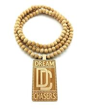 "NEW DREAM CHASERS WOOD PENDANT &36"" WOODEN BEAD CHAIN HIP HOP NECKLACE - XJ215"