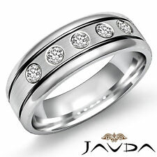 9mm Men Half Wedding Band 5 Stone Round Diamond Solid Ring 14k White Gold 0.25Ct