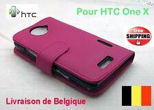 2013 HTC One X pochette flip cuir Rose - Pink leather flip case TOP QUALITÉ