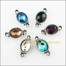 18 Flower Oval Connector Mixed Crystal Charms Tibetan Silver Pendant 8.5x16.5mm