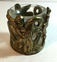 Brass And Glass Candle Holder with Angel and Harp Vintage
