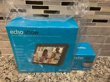 New Amazon Echo Show 2nd Generation 10'' w Alexa Charcoal, bonus echo dot