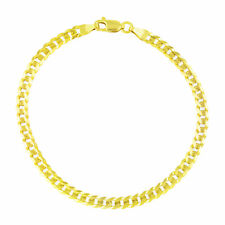 GENUINE 14K Pure Yellow Gold 3.5MM Womens 7in Cuban Curb Link Chain Bracelet- 7""