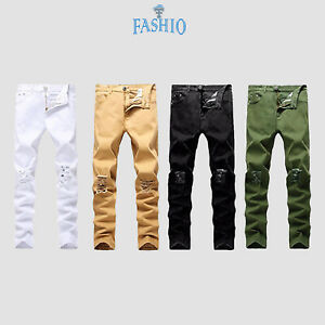 FASHIO Mens Denim Ripped Skinny Fit Stretch Slim Fit Biker Pants Destroyed Jeans