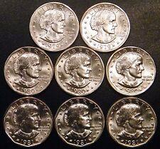 1979 PD 1980 PDS 1981 PDS Susan B Anthony BU Dollar US Mint Cello Run 8 Coin Set