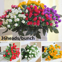 36Heads Artificial Silk Flowers Bunch Small Bud Rose Wedding Decorative Flower