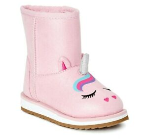 Wonder Nation Toddler Girls size 7 Crazy Unicorn Faux Shearling Boots color pink