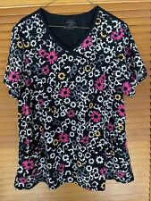 Cherokee Infinity Floral Patterned Silky scrub top Xl Extra Large Nwot