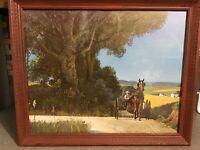 Vintage John Falter Amish Horse And Buggy Framed Signed Art Print